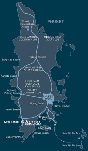 Kata Phuket Hotels Map Phuket Kata Beach Location of Alpina